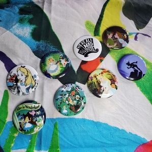 Alice In Wonderland and Peter Pan buttons
